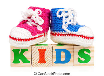 Cubes with booties - Kids word formed by wood alphabet ...