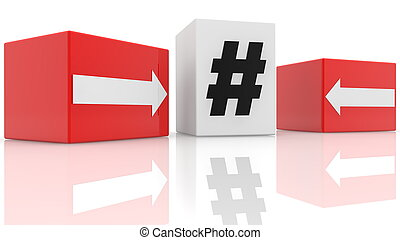 Cubes with hashtag and arrows concept