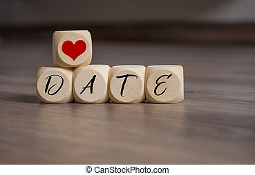 cubes with heart and save the date