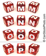 Cubes with letters. 3d