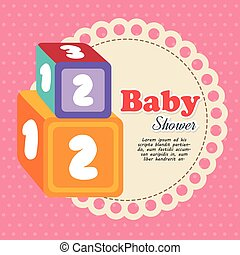 cubes with numbers baby shower card
