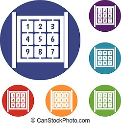 Cubes with numbers on playground icons set