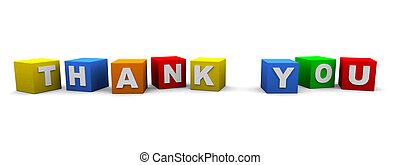 thank you - cubes with text spelling thank you