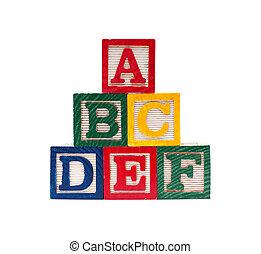 cubi, abc, alfabeto, fondo, legno, isolato, bianco