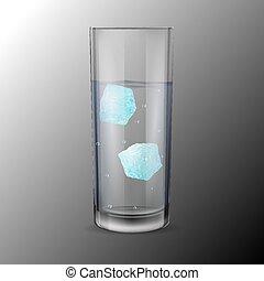 cubi, alcool, due, acqua ghiaccio, vetro, o