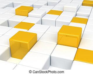 cubi, astratto, plastica, fondo, arancia, bianco, consistere