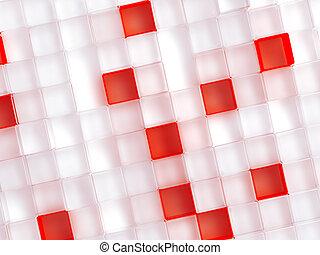 cubi, astratto, plastica, fondo, bianco, consistere, rosso