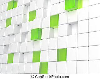 cubi, astratto, plastica, vetro, sfondo verde, bianco, consistere