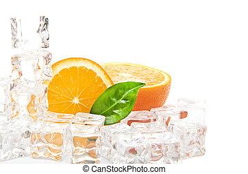 cubi, cibo, ghiaccio, fondo, arancia, bianco