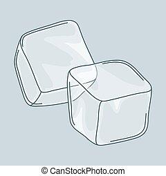 cubi, due, ghiaccio, fondo., set, bianco