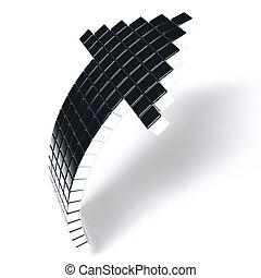 cubi, fondo, metallo, metallico, scuro, freccia, bianco, consistere