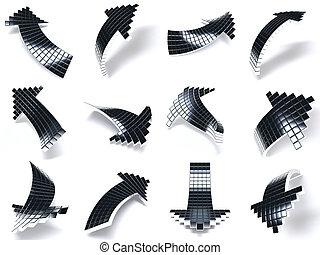 cubi, frecce, metallo, metallico, sfondo scuro, bianco, consistere