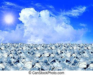 cubi ghiaccio, in, cielo blu