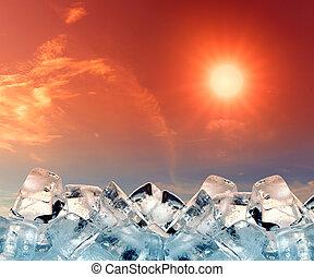 cubi ghiaccio, in, cielo rosso