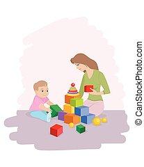 cubi, gioco, mamma, figlio
