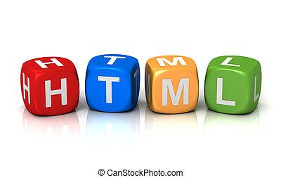 cubi, illustrazione, html, concetto, 3d