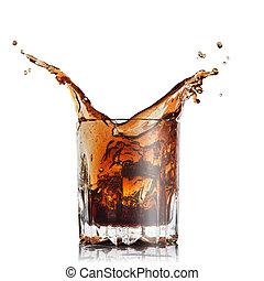 cubi, isolato, ghiaccio, vetro, schizzo, bianco, cola