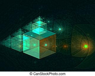 cubi, magia, astratto, -, generare, digitalmente, immagine