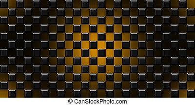 cubi, moderno, illustrazione, sfondo nero, arancia