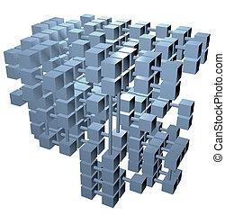 cubi, rete, database, collegamenti, dati, struttura