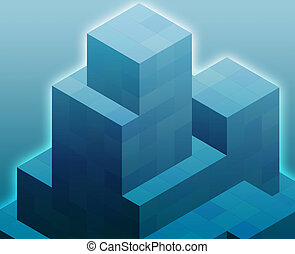 Cubic blocks - Abstract illustration wallpaper of geometric ...