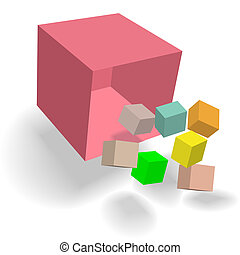 Colorful cubes blocks boxes fall like dice from a Cubic Cornucopia Box in a 3D abstract.