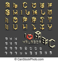 cubic font, symbol and icon set
