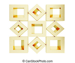 Cubic golden shapes isolated on white background. 3d rendering