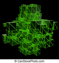 Cubic Nanoparticles - Abstract 3D Illustration