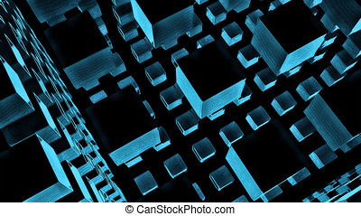 Cubic Nanoparticles - Nanostructures - Abstract 3D...