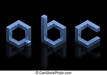 cubical 3d font letters a b c 3d illustration