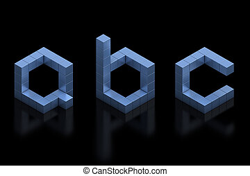 cubical 3d font letters a b c  3d illustration