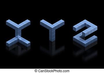cubical 3d font letters x y z  3d illustration