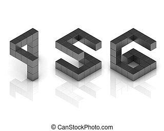 cubical, 3d, fonte, números, 4, 5, 6