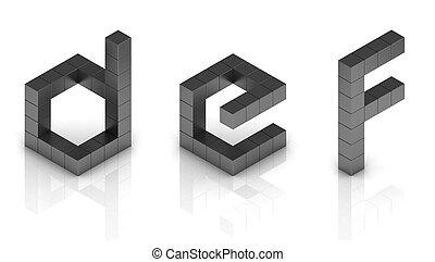 cubical, 3d, lettertype, brieven, d, e, f