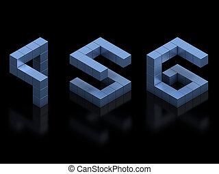 cubical, 3d, lettertype, getallen, 4, 5, 6