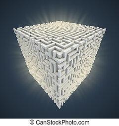 cubical maze shaped 3d illustration