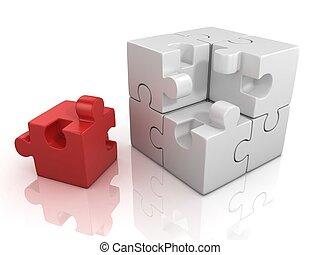 cubical, quebra-cabeça, com, um, vermelho, pedaço