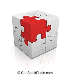 cubical, raadsel, met, een, rood, stuk