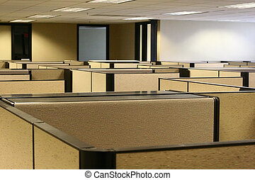 A maze of bland cubicles in an office