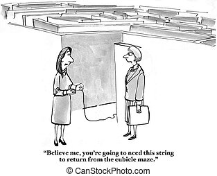 Business cartoon about helping a new employee find her way among the cubicle maze.