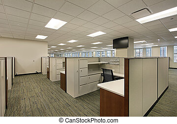 Cubicles in downtown office building - Cubicles and meeting...