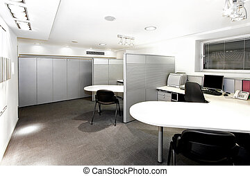 Cubicles in the office corner with space dividers