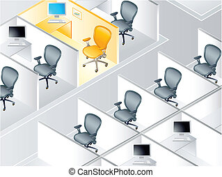 Cubicles - Office cubicle rows with the special one