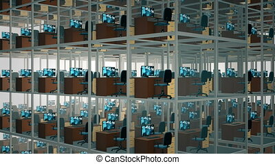 Cubicles With Chairs And Computers In Office.