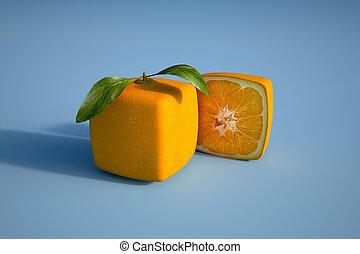 cubico, arancia, blu