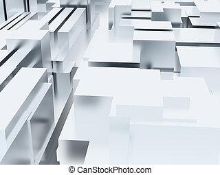 cubico, colorare, astratto, metallo, superficie, white-blue