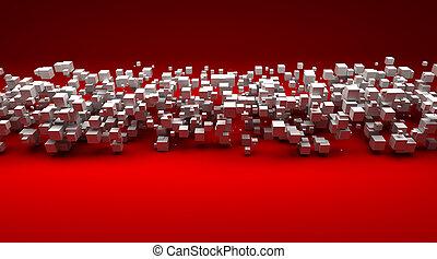 cubico, contro, particelle, fondo, bianco rosso