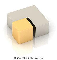 cubico, torta, tridimensionale