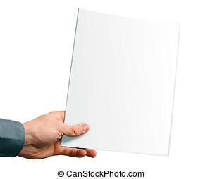 cubierta, aislado, mano, revista, blanco, blanco